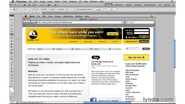 Determining page size: Photoshop CS5 for the Web