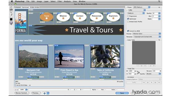Optimizing and saving slices: Photoshop CS5 for the Web