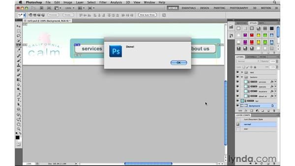 Using the lynda.com rollover script: Photoshop CS5 for the Web