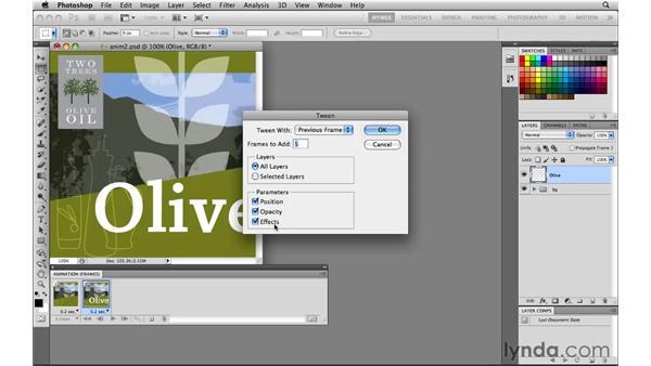 Tweening layer opacity: Photoshop CS5 for the Web