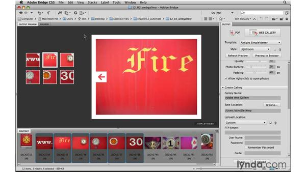 Making a gallery of online images: Photoshop CS5 for the Web