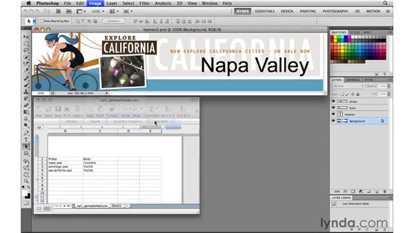 Importing dataset values from a spreadsheet: Photoshop CS5 for the Web