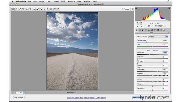 Correcting overexposed highlights : Photoshop CS5: Landscape Photography