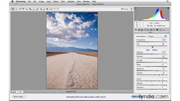 Correcting white balance : Photoshop CS5: Landscape Photography