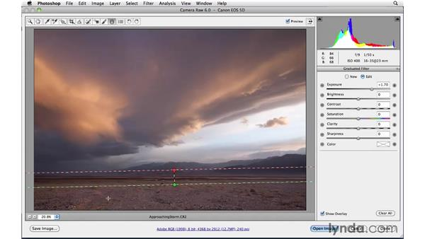 Performing localized edits with the Gradient Filter tool : Photoshop CS5: Landscape Photography