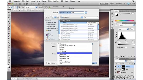 Saving images with adjustment layers: Photoshop CS5: Landscape Photography
