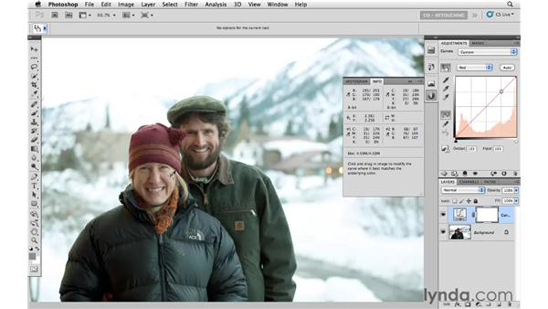 Correcting color with skin tone and neutral content: Photoshop CS5: Portrait Retouching