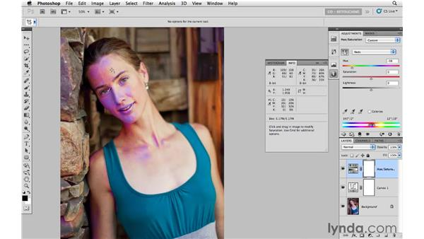 Correcting color with the Curves dialog and Hue/Saturation: Photoshop CS5: Portrait Retouching