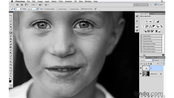 Removing blemishes from the face: Photoshop CS5: Portrait Retouching
