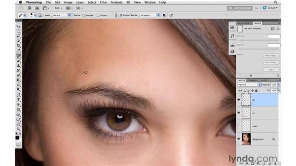 Cleaning up larger areas: Photoshop CS5: Portrait Retouching