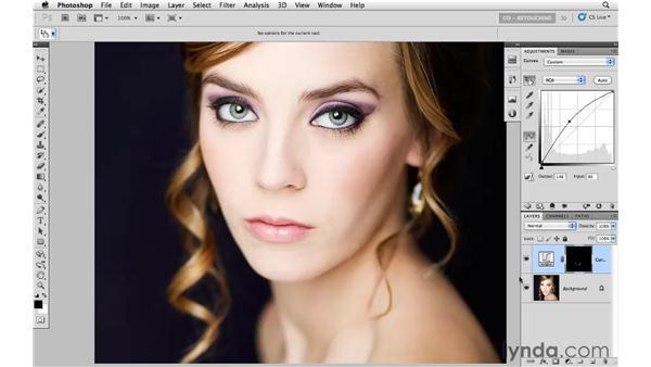 Reducing shadows by dodging: Photoshop CS5: Portrait Retouching