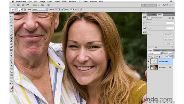 Reducing wrinkles with Soft Light blending: Photoshop CS5: Portrait Retouching