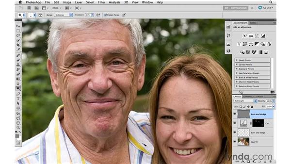 Using the Burn and Dodge tools on wrinkles: Photoshop CS5: Portrait Retouching