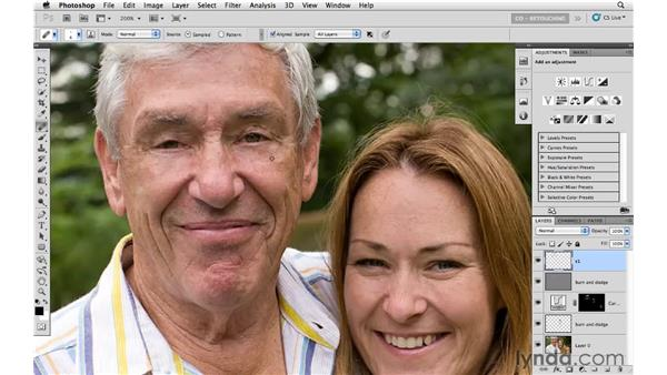 Using Clone Stamp, Healing, and Curves tools on wrinkles: Photoshop CS5: Portrait Retouching
