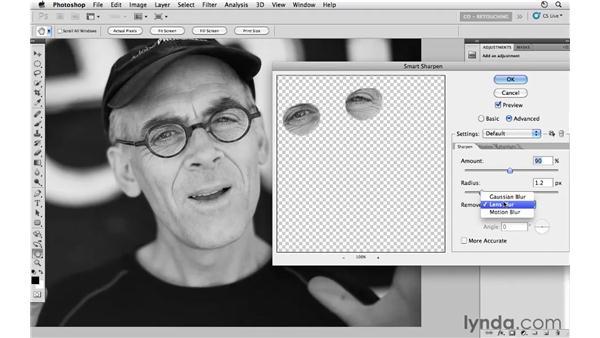 Sharpening eyes behind glasses: Photoshop CS5: Portrait Retouching