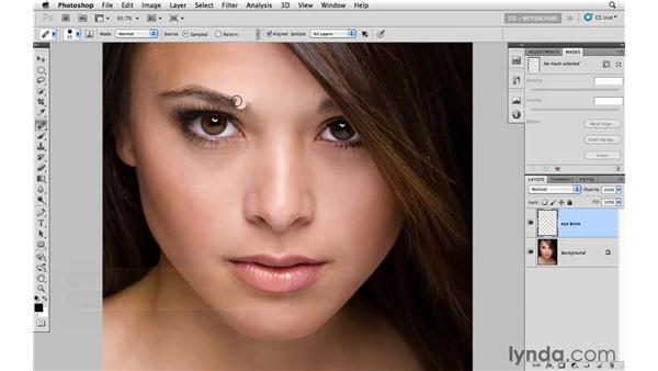 Reshaping an eyebrow: Photoshop CS5: Portrait Retouching