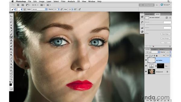 Working on eyebrows and adding eyelashes: Photoshop CS5: Portrait Retouching