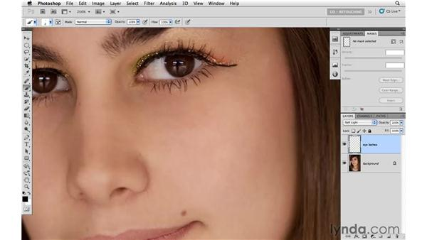 Adding mascara to increase eyelash density: Photoshop CS5: Portrait Retouching