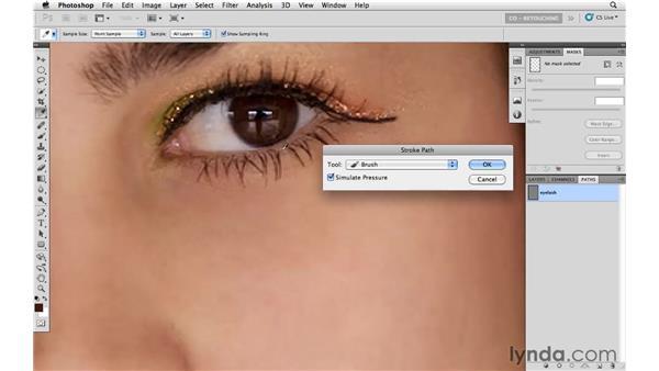 Adding eyelashes: Photoshop CS5: Portrait Retouching
