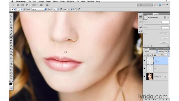 Improving lips with the Burn and Dodge tools: Photoshop CS5: Portrait Retouching