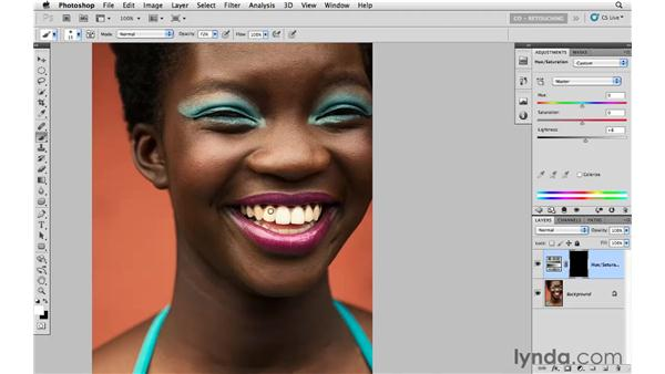 Whitening teeth with Hue and Saturation: Photoshop CS5: Portrait Retouching