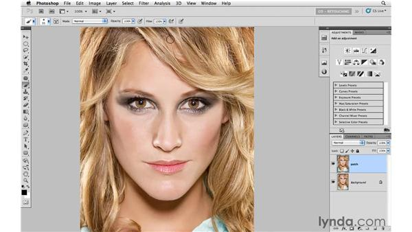 Removing a gap in hair with the Patch tool: Photoshop CS5: Portrait Retouching