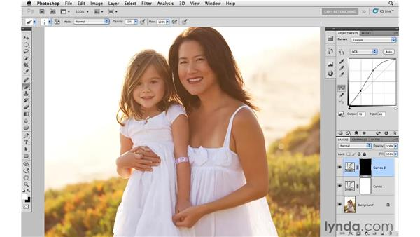 Brightening hair for emphasis: Photoshop CS5: Portrait Retouching