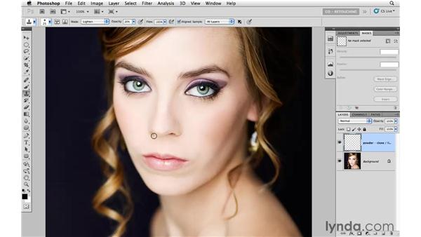 Brightening shadowed areas on the face: Photoshop CS5: Portrait Retouching