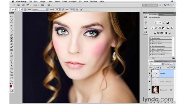 Adding color to the cheeks and eyelids: Photoshop CS5: Portrait Retouching