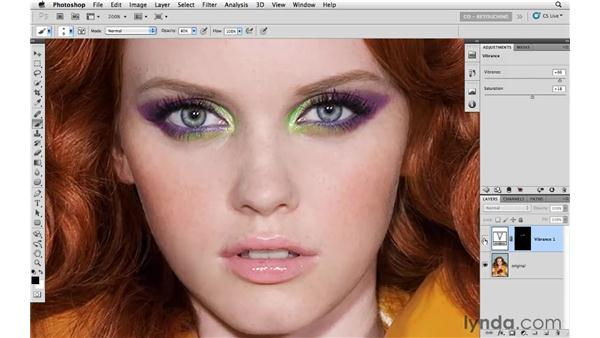 Using curves to change eye makeup: Photoshop CS5: Portrait Retouching