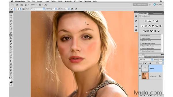 Creating contours with painting and blending modes: Photoshop CS5: Portrait Retouching