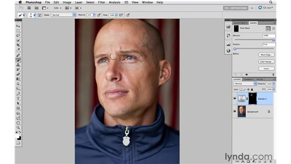 Example 3: Reducing brightness with curves: Photoshop CS5: Portrait Retouching