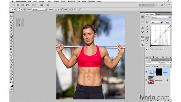 Using bristle tip brushes to burn and dodge: Photoshop CS5: Portrait Retouching