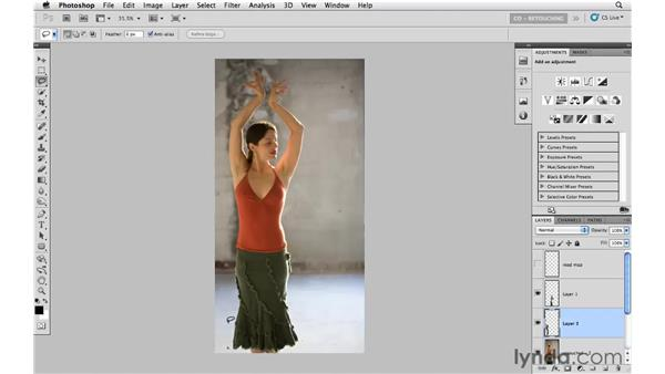 Making enhancements with Free Transform: Photoshop CS5: Portrait Retouching