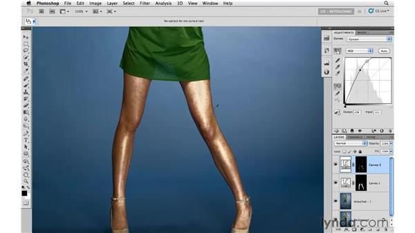 Brightening with curves and masking: Photoshop CS5: Portrait Retouching
