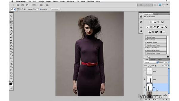 Thinning with Free Transform: Photoshop CS5: Portrait Retouching