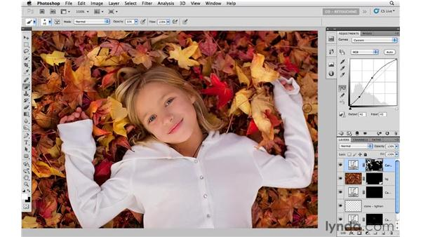 Brightening hair and leaves: Photoshop CS5: Portrait Retouching