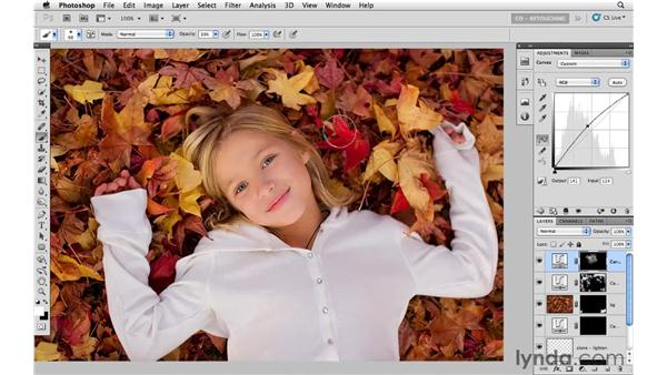 Brightening the subject with curves: Photoshop CS5: Portrait Retouching