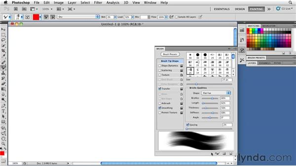 Monitoring brush orientation with the 3D Brush preview: Photoshop CS5: Painting with the Mixer Brush