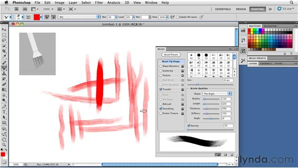 Using bristle tips: Photoshop CS5: Painting with the Mixer Brush
