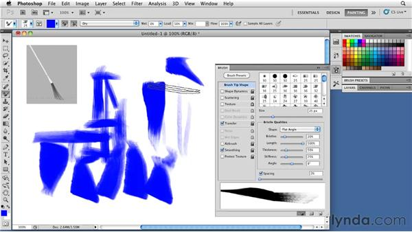 Adjusting bristle length: Photoshop CS5: Painting with the Mixer Brush