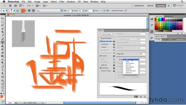 Understanding options for angle adjustment: Photoshop CS5: Painting with the Mixer Brush