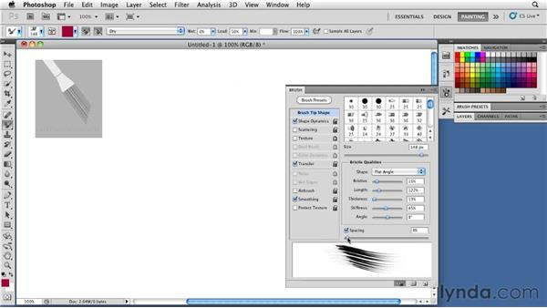 Changing bristle spacing: Photoshop CS5: Painting with the Mixer Brush