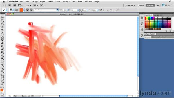 Using the Preset Brush Behavior menu: Photoshop CS5: Painting with the Mixer Brush