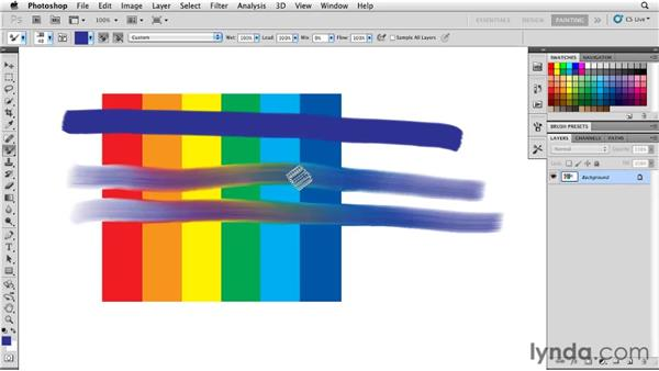 Using the Wet, Load, Mix, and Flow controls to adjust color behavior: Photoshop CS5: Painting with the Mixer Brush