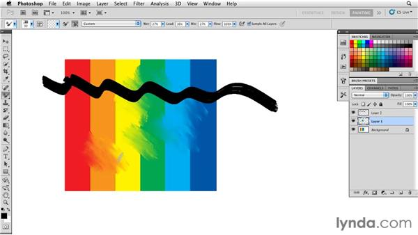 Sampling color from all layers: Photoshop CS5: Painting with the Mixer Brush