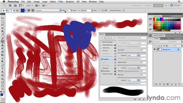 Using the Transfer panel to adjust paint dynamics: Photoshop CS5: Painting with the Mixer Brush