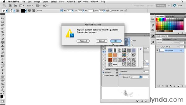 Selecting patterns from the Pattern Library: Photoshop CS5: Painting with the Mixer Brush