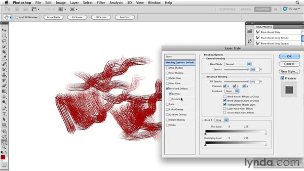 Adding 3D appearance to strokes: Photoshop CS5: Painting with the Mixer Brush