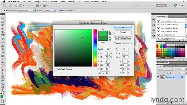 Using additional color selection options: Photoshop CS5: Painting with the Mixer Brush